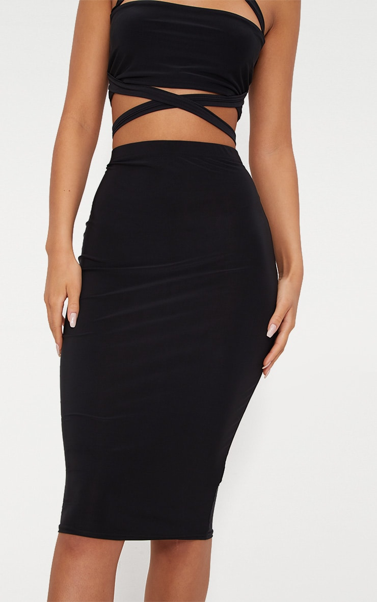 Black Slinky Midi Skirt 5