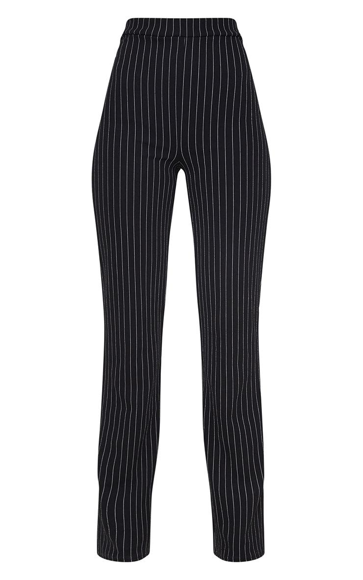 Pantalon noir coupe droite à rayures fines 3