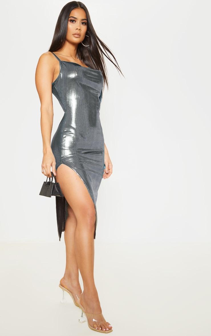 Silver Strappy Metallic Cowl Neck Midi Dress 1