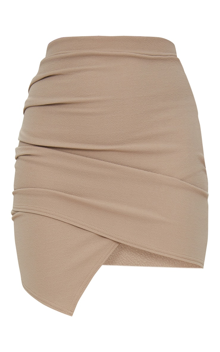 Taupe Ruched Wrap Mini Skirt 4