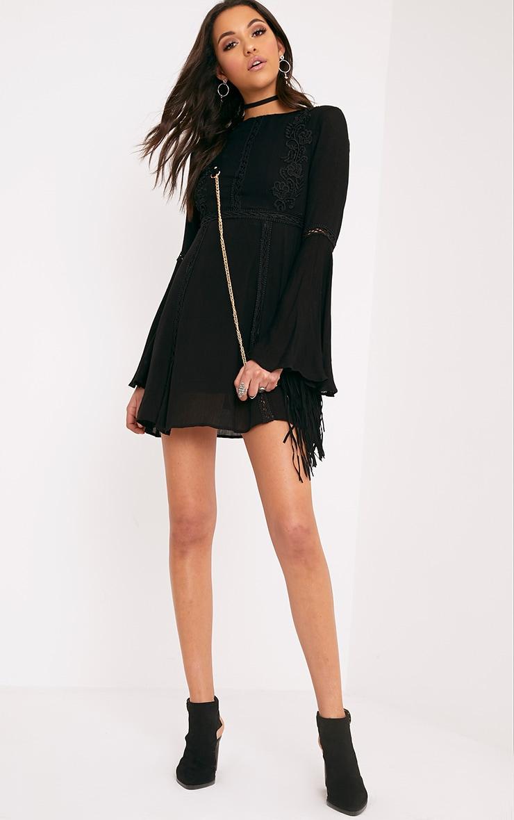 Karmen Black Crochet Lace Insert Swing Dress 4