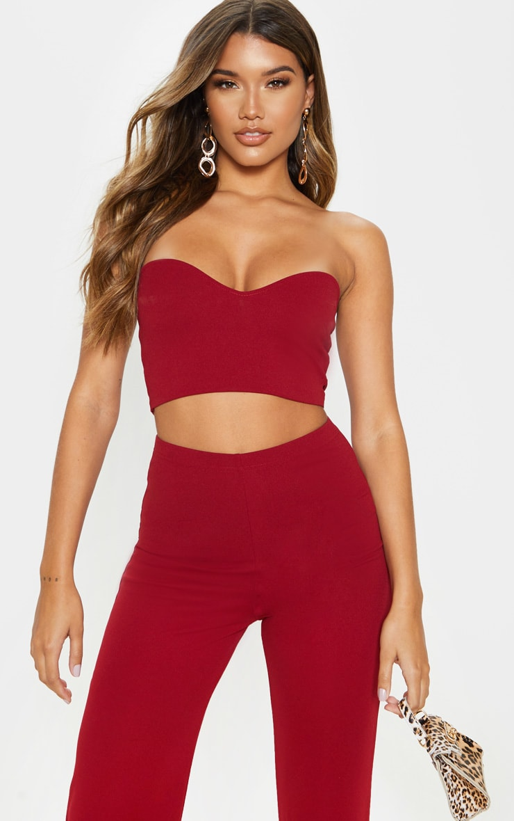 Scarlet Red Sweetheart Bandeau Crop Top 1