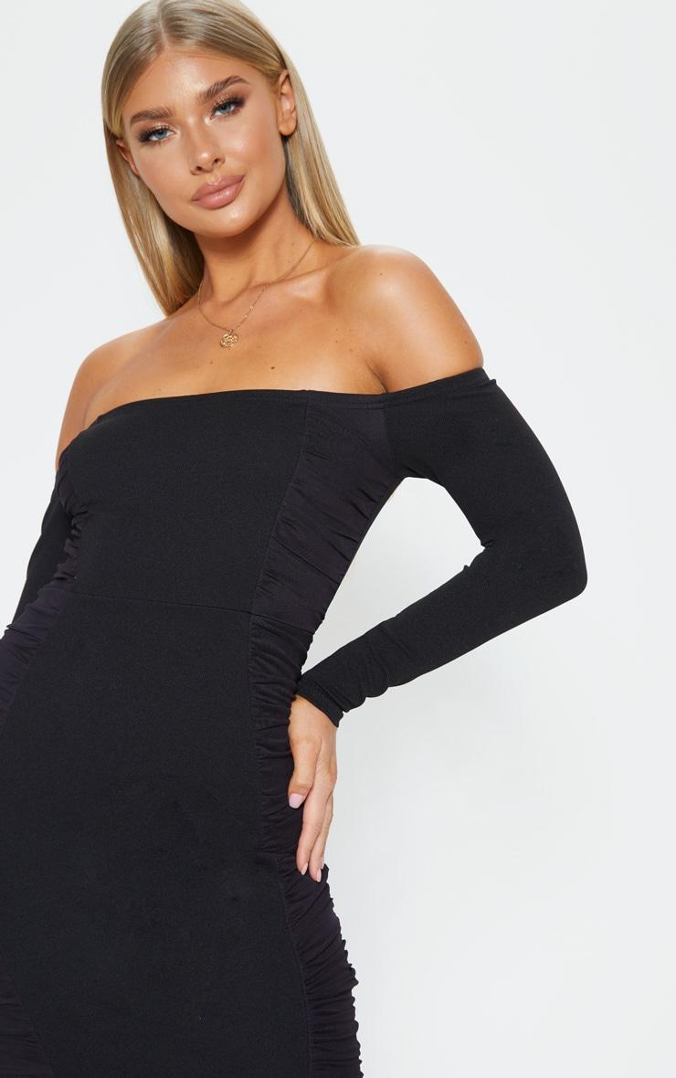 Black Bardot Ruched Side Panel Bodycon Dress 5