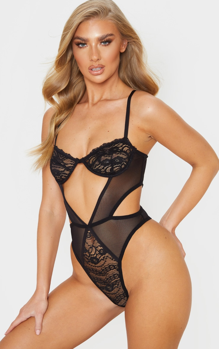 Black Cut Out Panels Lace Mesh Underwired Body 1