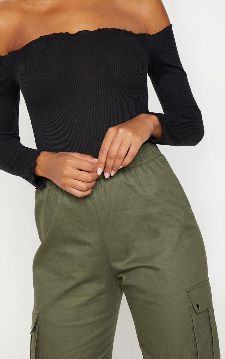 Black Rib Long Sleeve Bardot Top 5