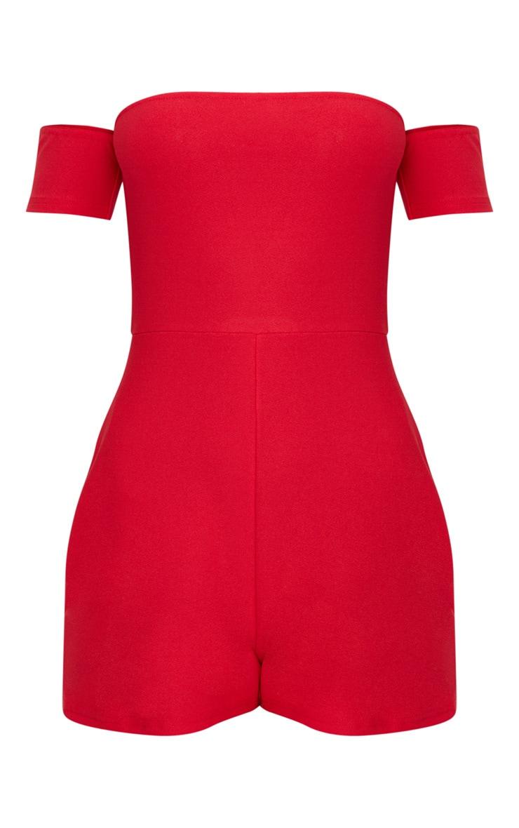 Red Crepe Short Sleeve Bardot Playsuit 3