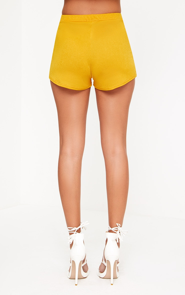 Mustard High Waisted Co-ord Shorts 4
