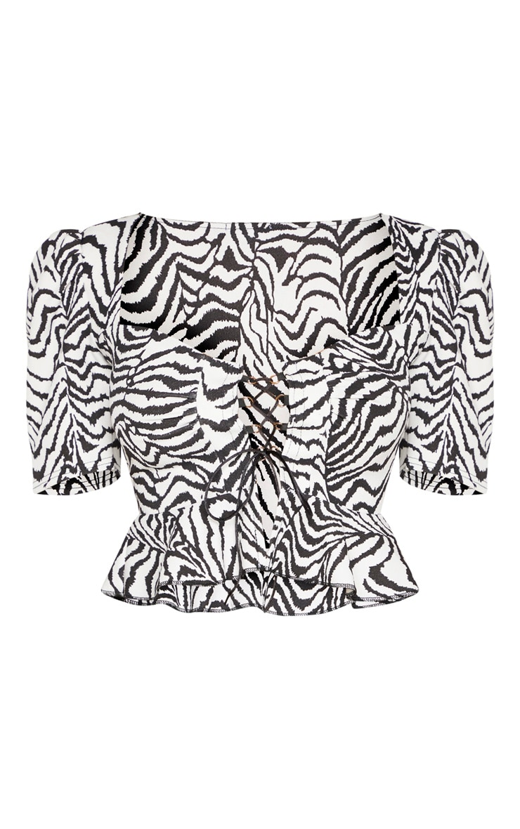 Mono Zebra Lace Up Cup Detail Top 3