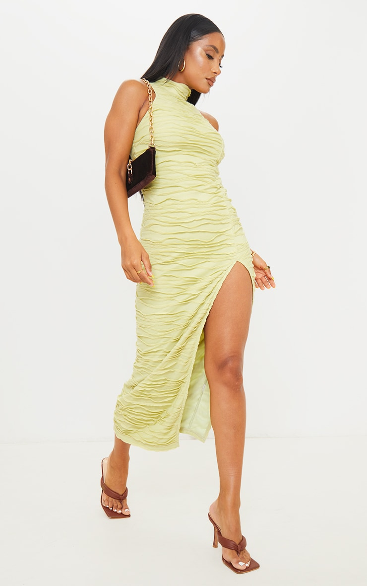 Green Exposed Seam Detail High Neck Sleeveless Midaxi Dress 3