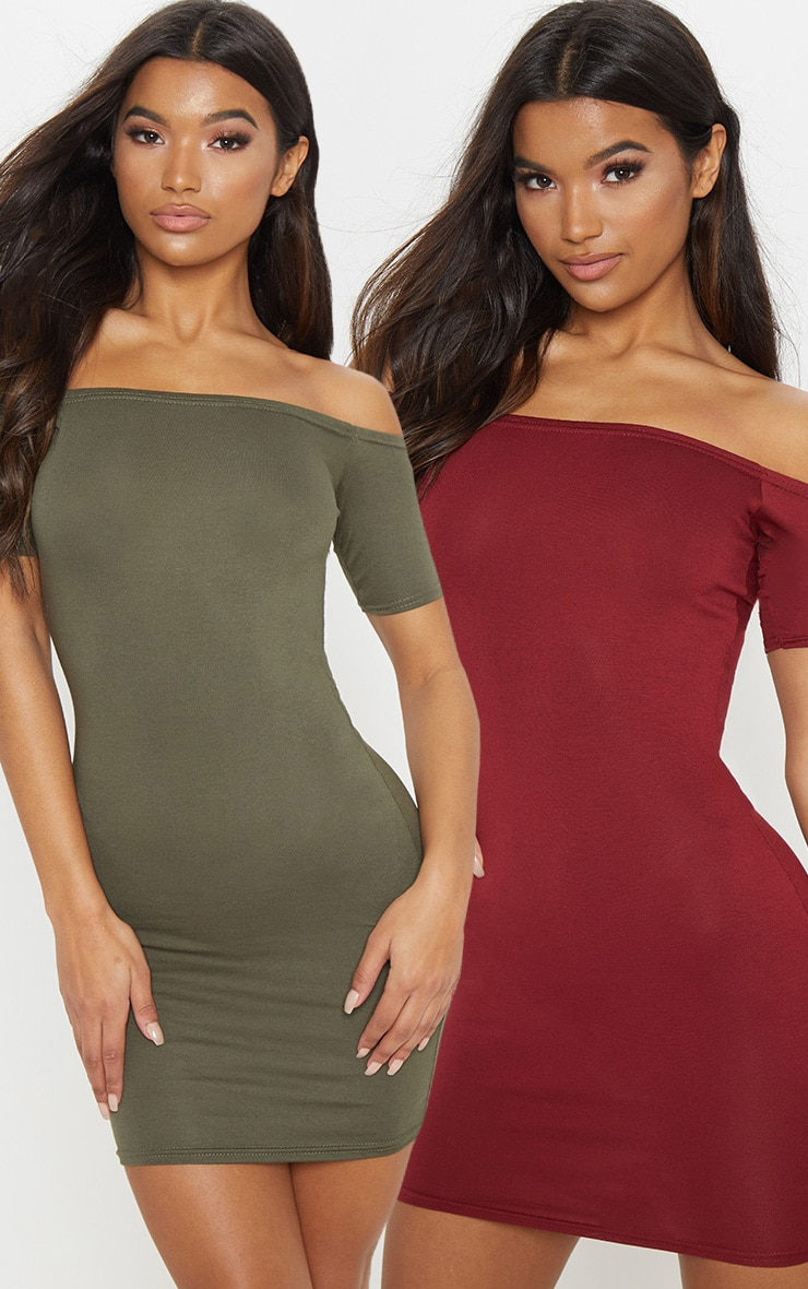 2 Pack Burgundy & Khaki Basic Bardot Bodycon Dress 1