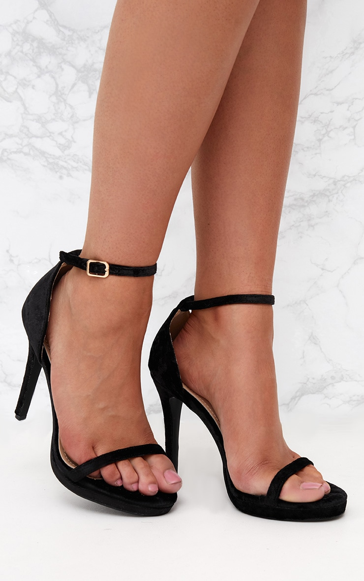 Black Velvet Single Strap Heeled Sandals 1