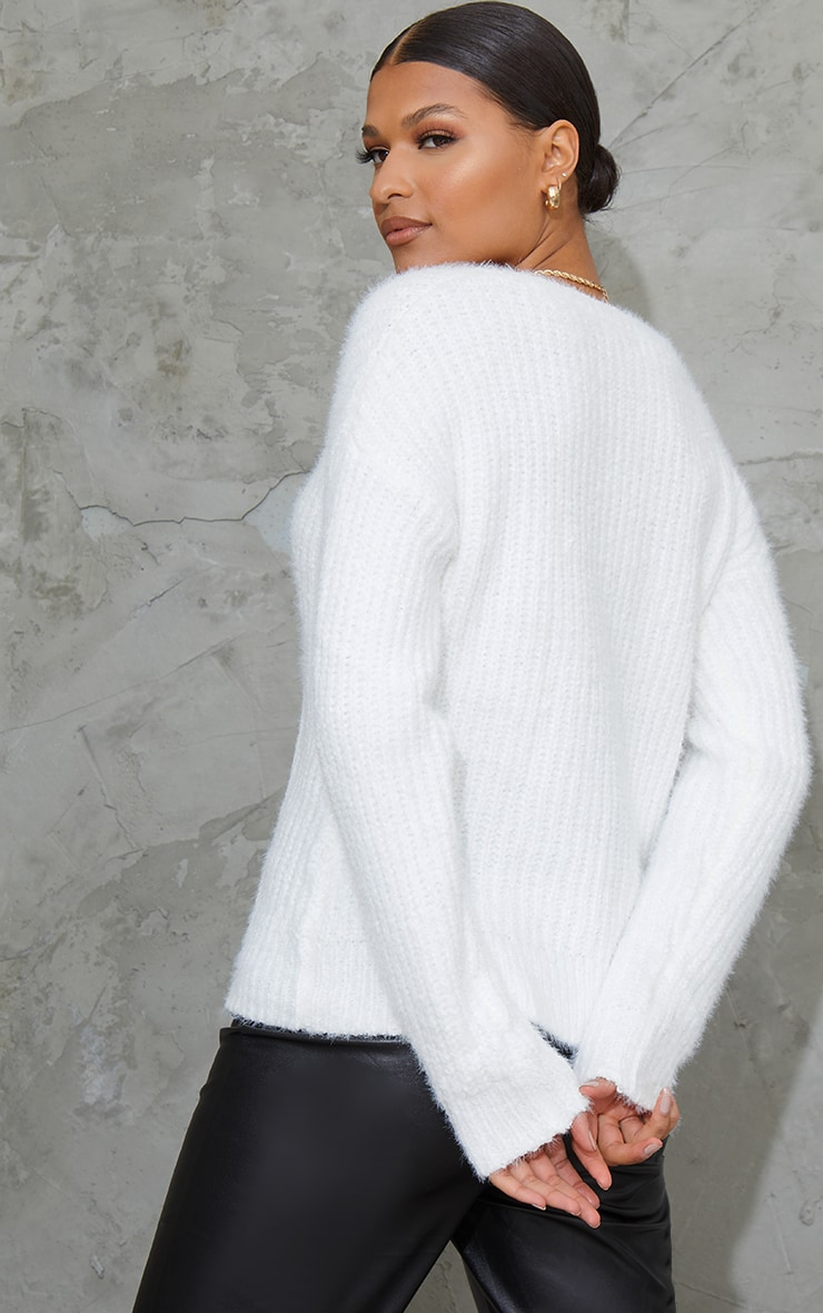 Cream Slouchy V Neck Fluffy Chenille Sweater 2