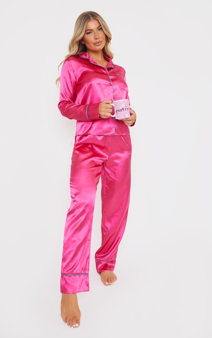 Hot Pink Satin Contrast Piping Long PJ Set 3