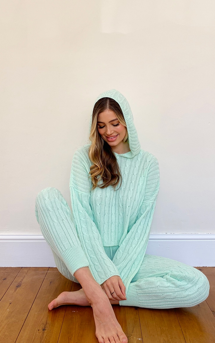 Mint Cable Knitted Hooded Lounge Set 3
