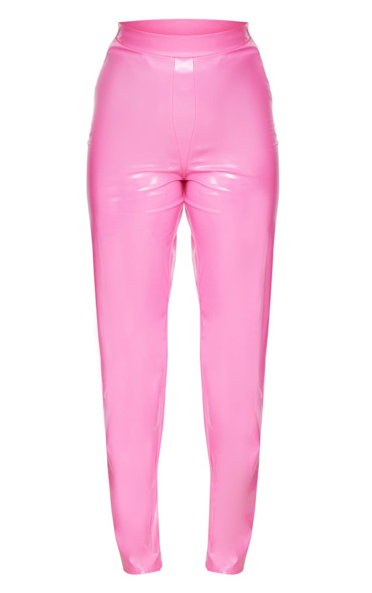Plus Hot Pink Vinyl High Waist Trousers 4