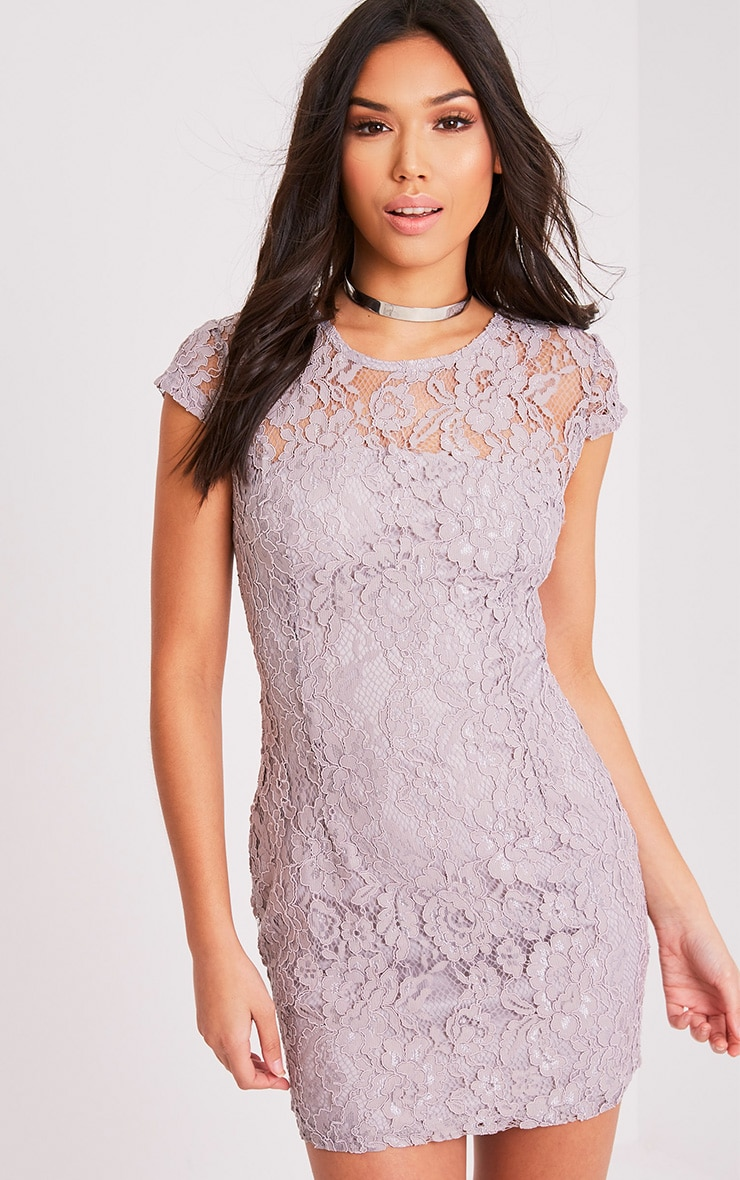 Natasha Ice Grey Lace Cap Sleeve Bodycon Dress 1