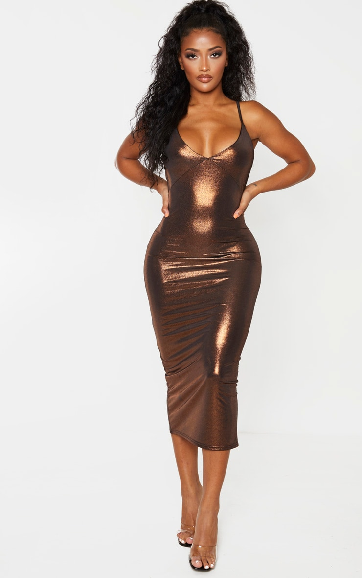 Shape Bronze Metallic Slinky Cup Detail Midi Dress 4