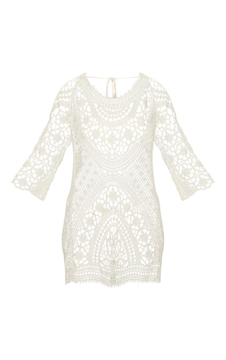 Cream Crochet Low Back Beach Dress 3