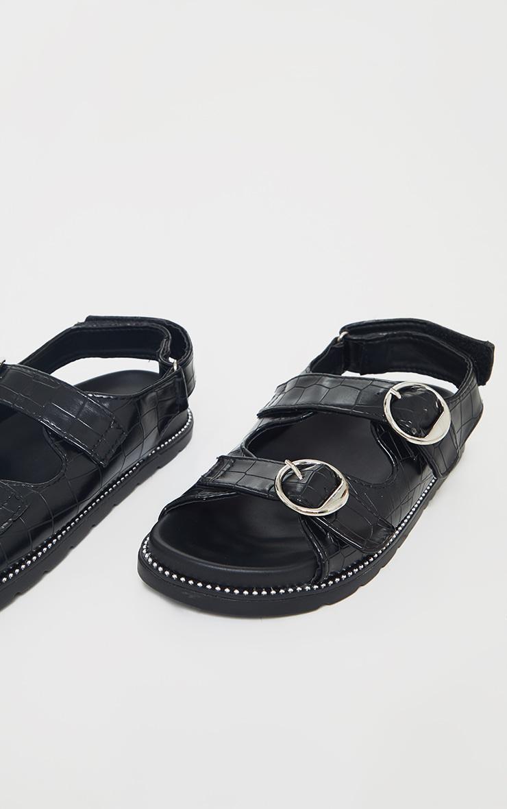 Black Double Croc Round Buckle Detail Sandals 3