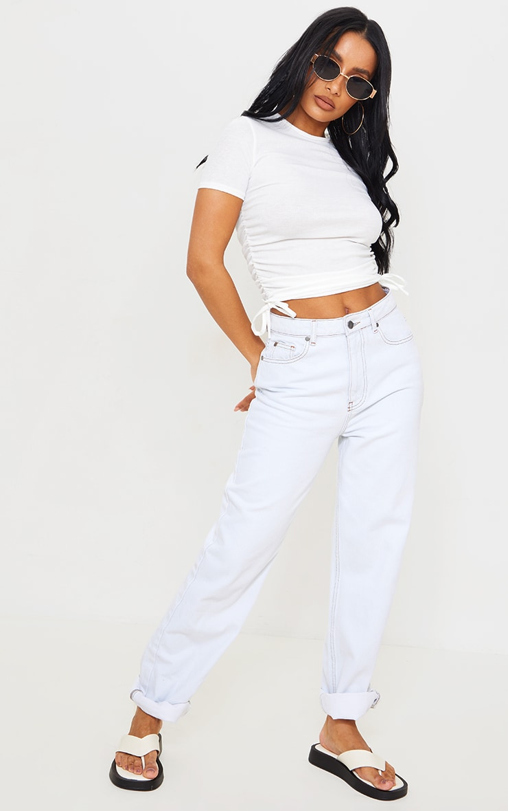 White Rib Ruched Side Short Sleeve Top 3