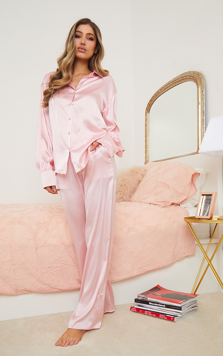 Pink Oversized Long Satin PJ Set 3