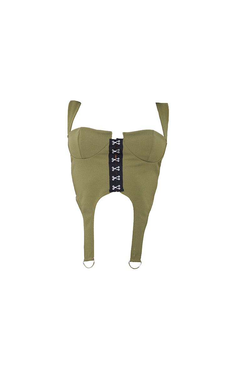 Tall Khaki Corset Ring Detail Crop Top 5