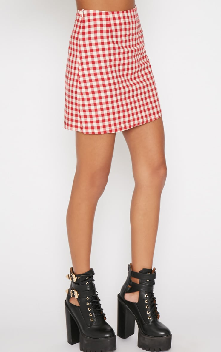 Maddie Red Checked Skirt 3