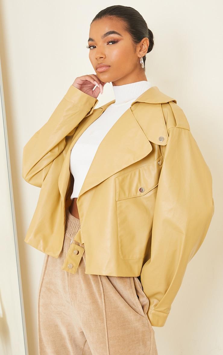 Sand Faux Leather Pocket Front Jacket 1