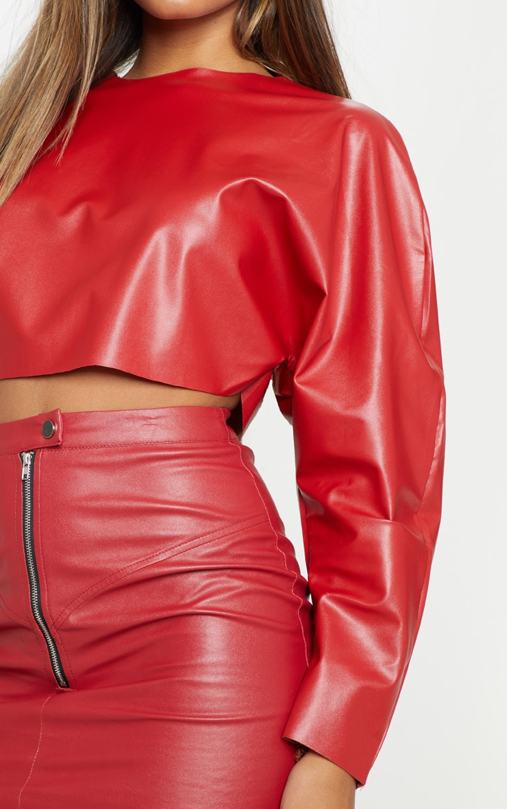 Red Faux Leather Crop Sweater 5