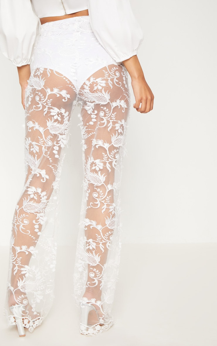 White Occasion Sheer Lace Flare Leg Trouers 4