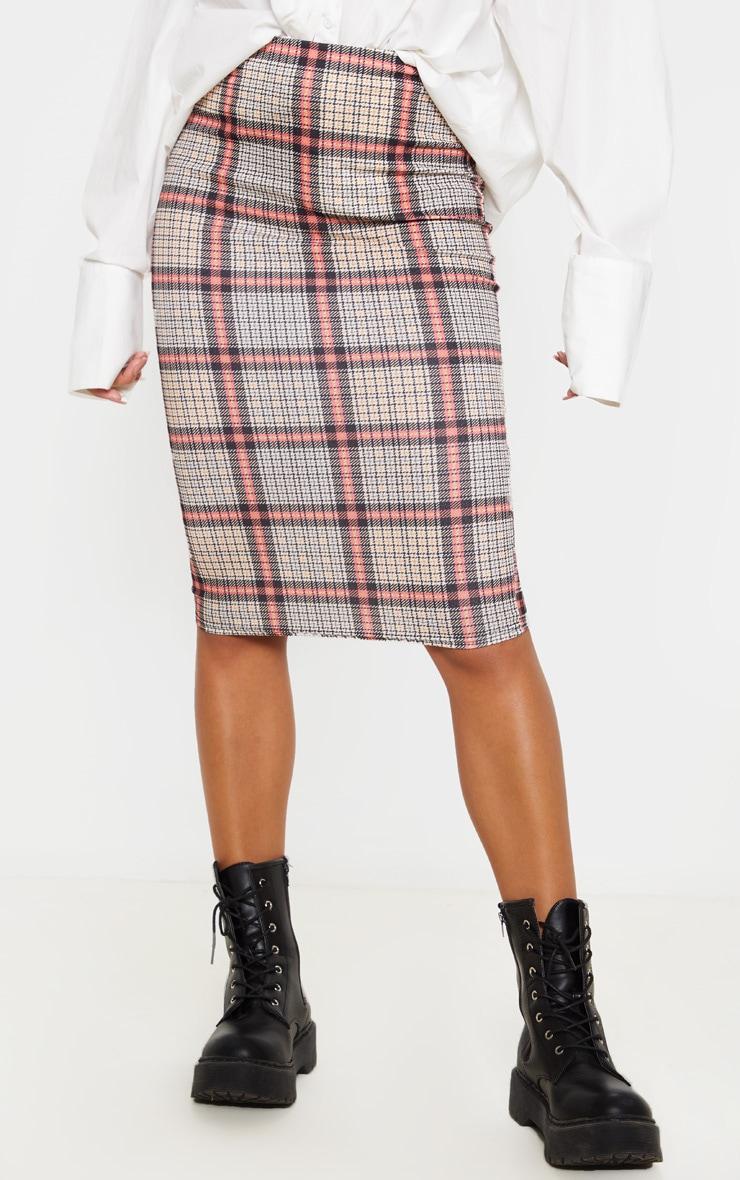 Check Print Midi Skirt  2