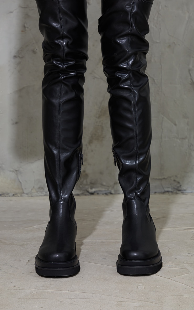 Black Double Sole Over The Knee Boots 3