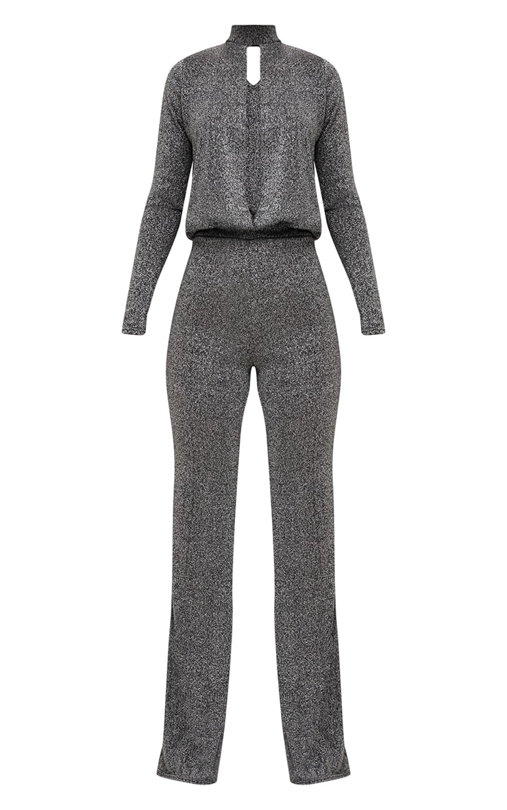 Grey Metallic Keyhole Cut Out Jumpsuit 3