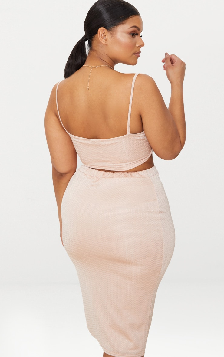 Plus Champagne Textured Strappy Crop Top 2