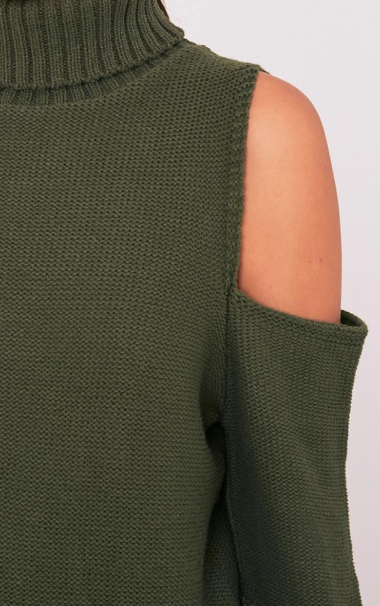 Hunni Khaki Cold Shoulder Roll Neck Jumper 6