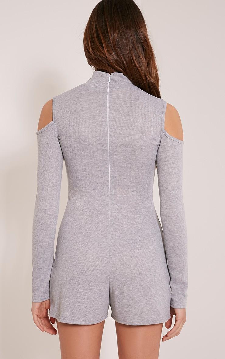 Tamsin Grey Cold Shoulder Ribbed Playsuit 2
