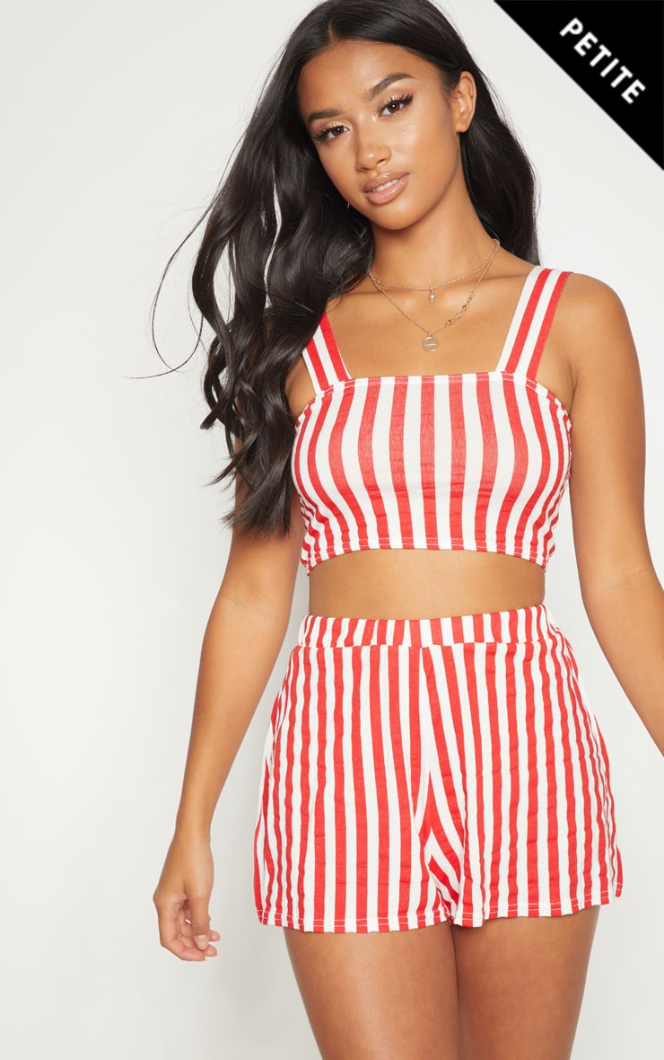 Petite Red Striped Shorts