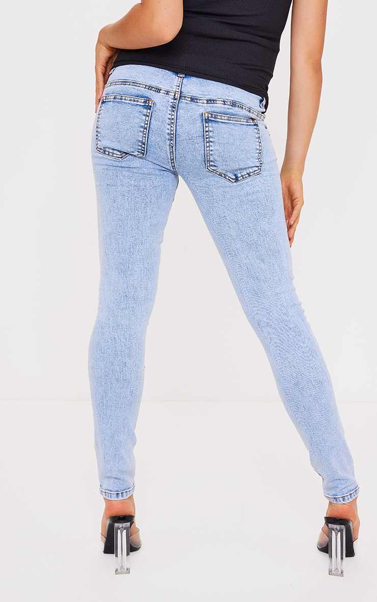 Maternity Blue Ripped Skinny Jeans 3