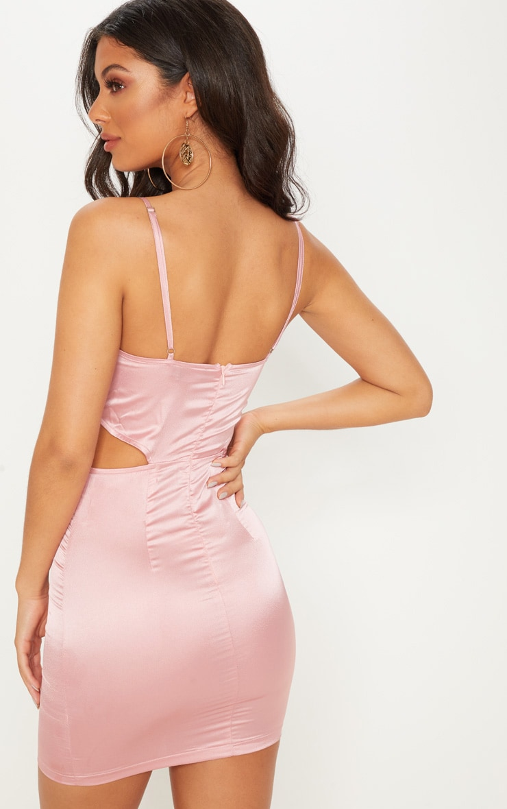 Rose Satin Cut Out Side Bodycon Dress 2
