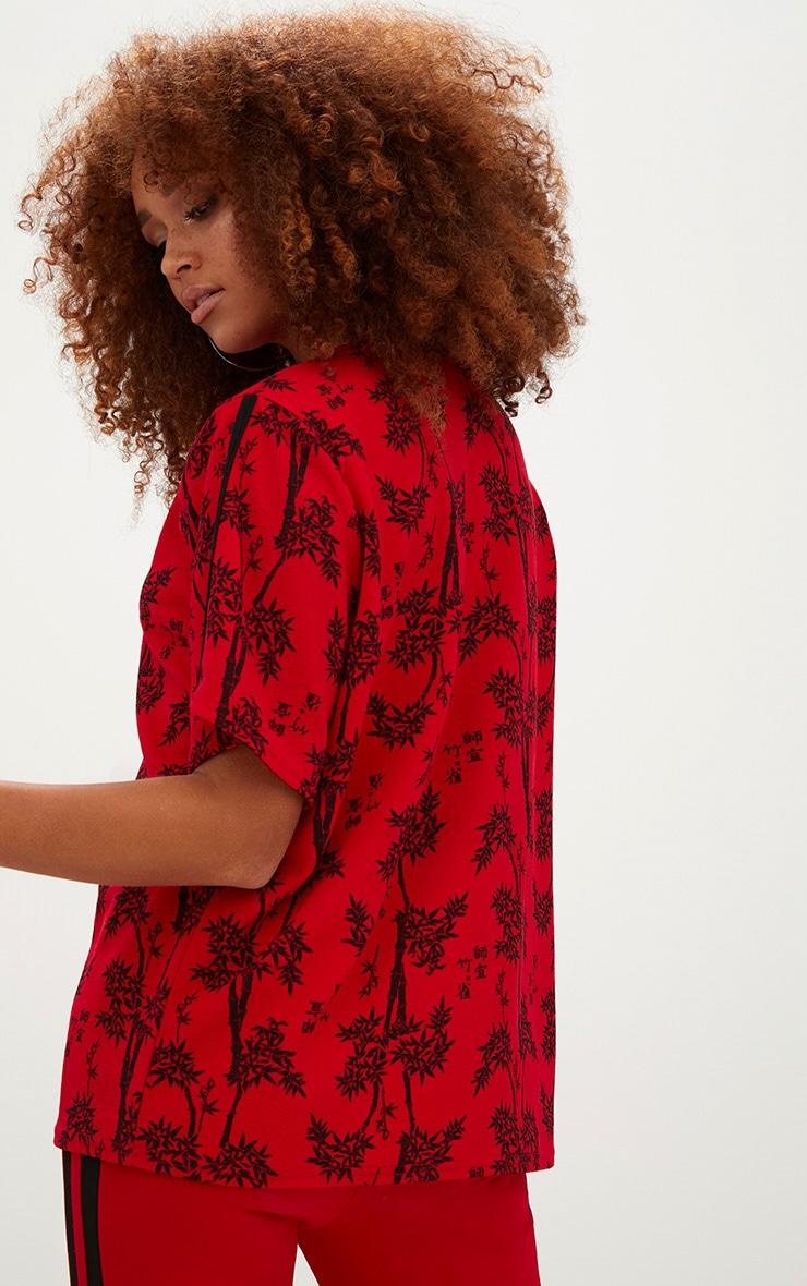 Red Oriental Print Oversized T Shirt  2