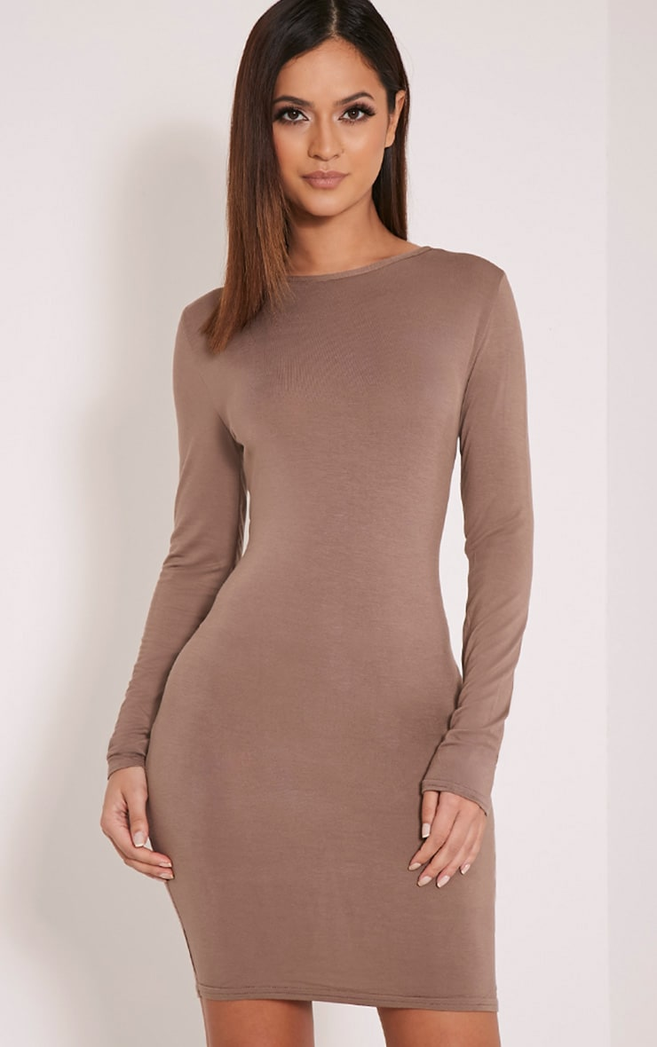 Basic Taupe Scoop Back Bodycon Dress 4