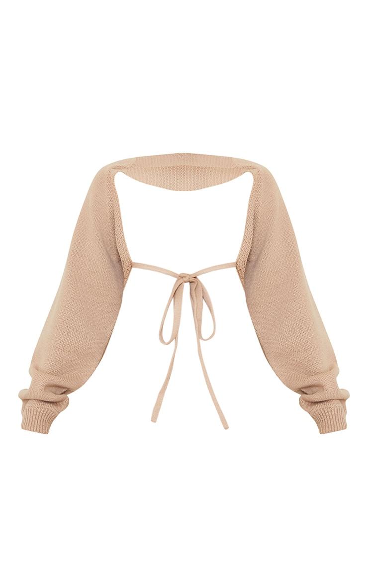 Stone Tie Back Knitted Sleeves Crop Jumper 5