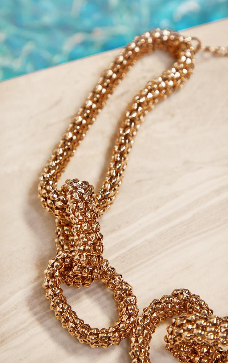 Dark Gold Round Mesh Chain Chunky Necklace 2