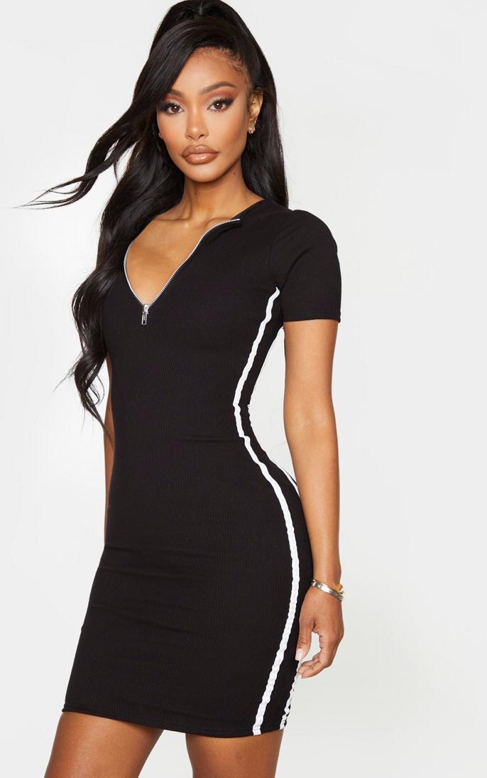 Shape Black Ribbed Side Stripe Zip Neck Bodycon Dress 1