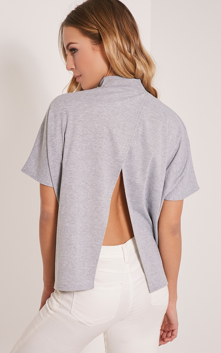 Aria Grey Wrap Back Ribbed Top 1