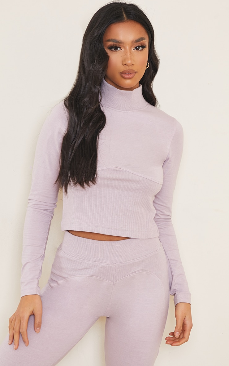 Petite Lilac Ribbed Underbust Detail Long Sleeve Crop Top 1