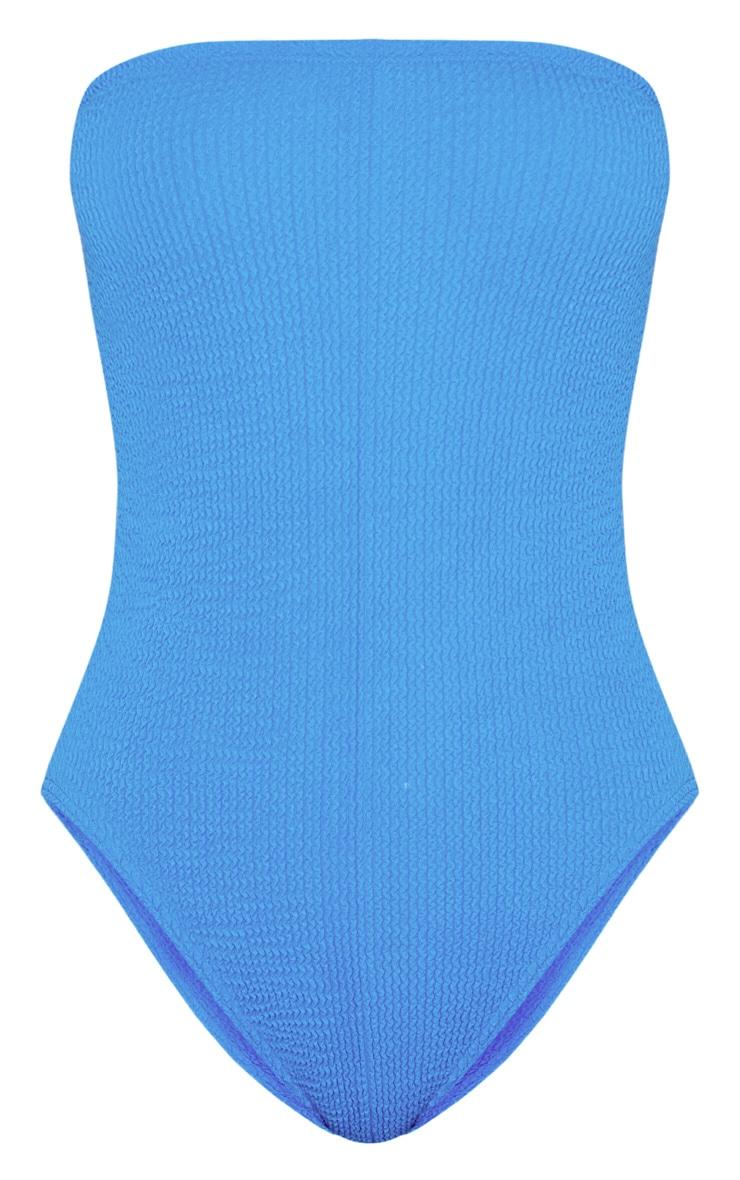 Maillot de bain sans bretelles froncé bleu 3