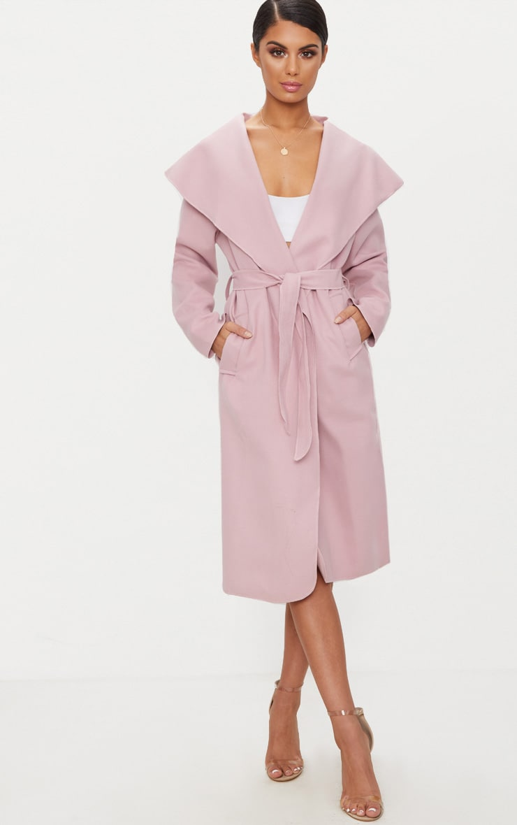 Veronica Dusty Pink Oversized Waterfall Belt Coat