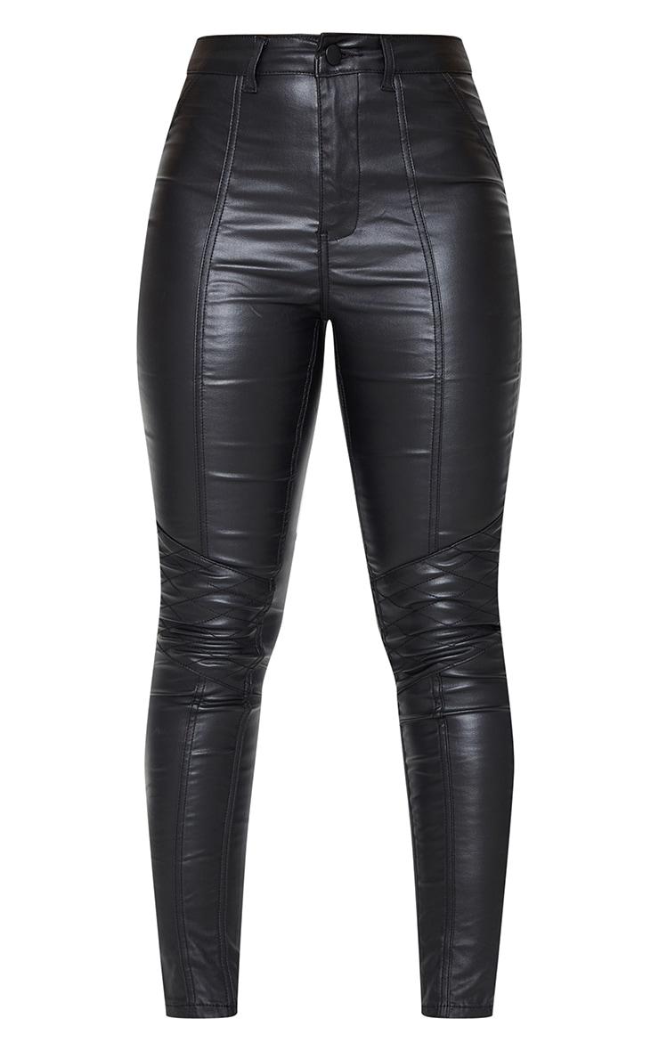 Black Biker Coated Skinny Jeans 5