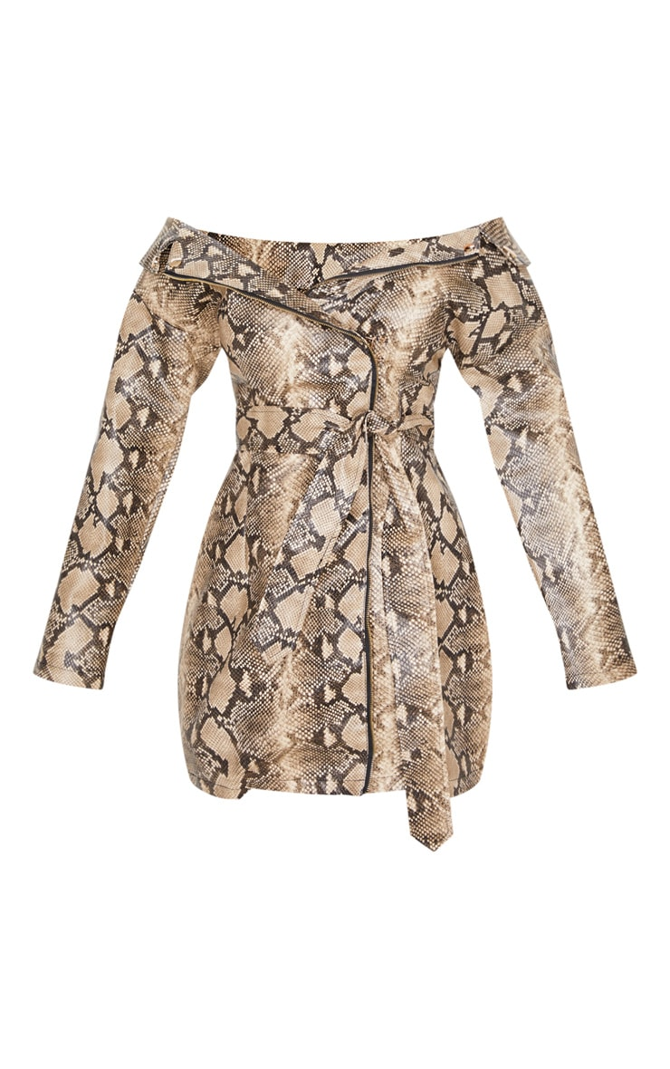 Taupe PU Snake Bardot Blazer Dress 3